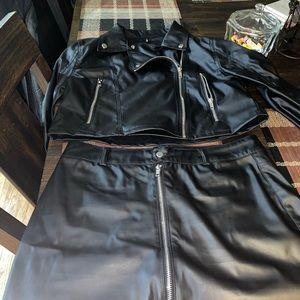 Leather black skirt set